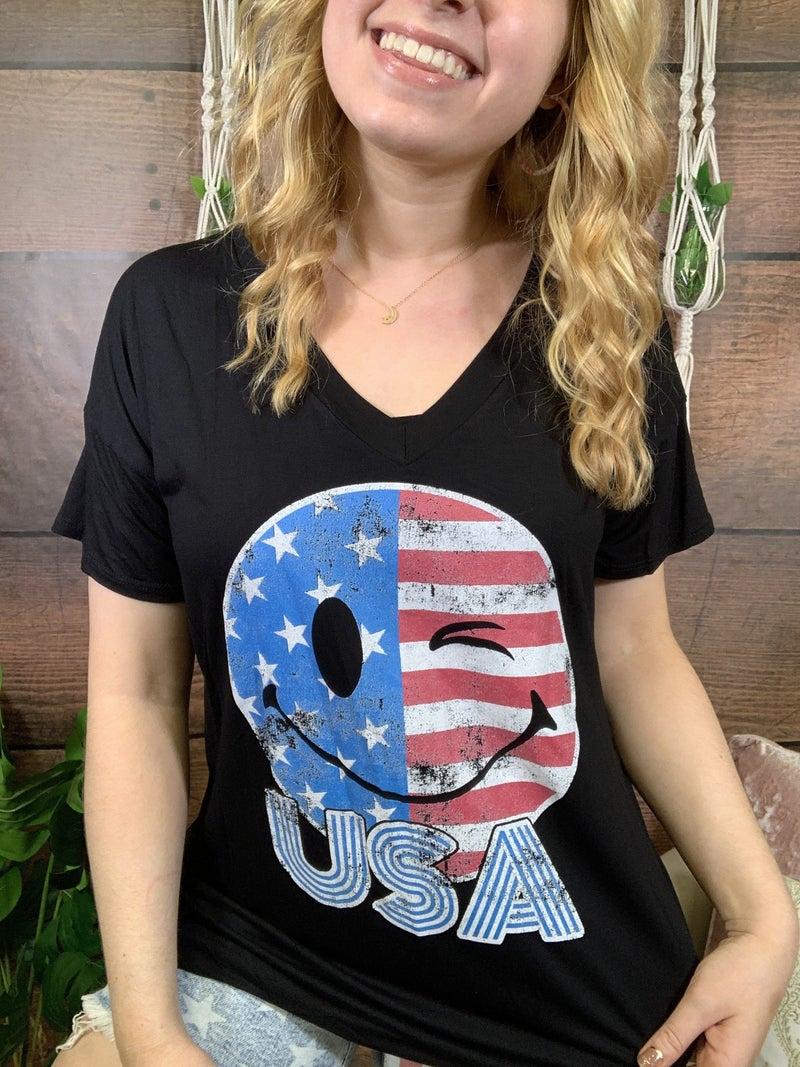 Short Sleeve Emoji USA Graphic Tee