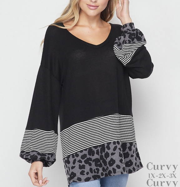 Long Bubble Sleeve Solid, Stripe, and Leopard Tiered Top