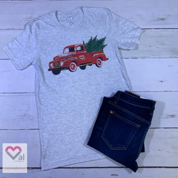 Merry Christmas Val Logo Red Truck Graphic Tee