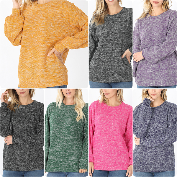 Long Balloon Sleeve Melange Sweater Top