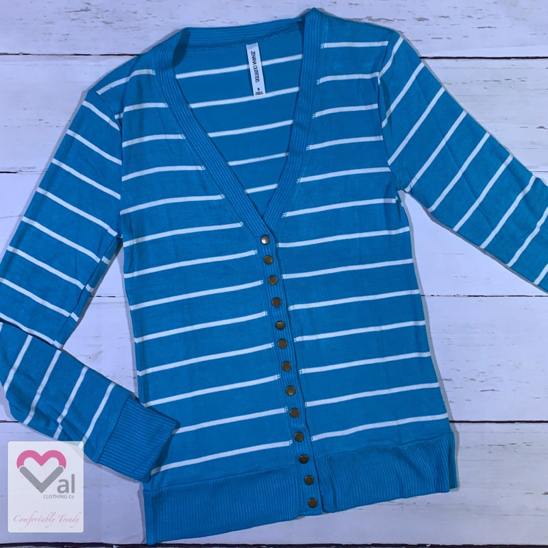 Long Sleeve Striped Snap Button Cardigan