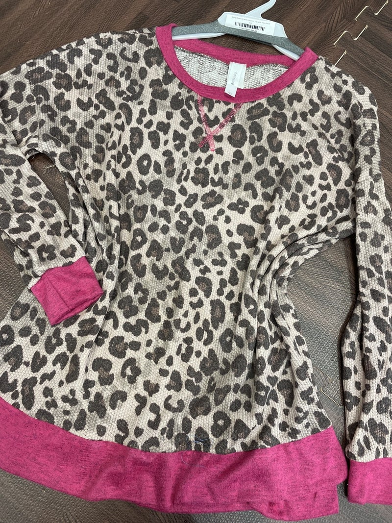 Long Sleeve V Neck Leopard Top with Trim Detail