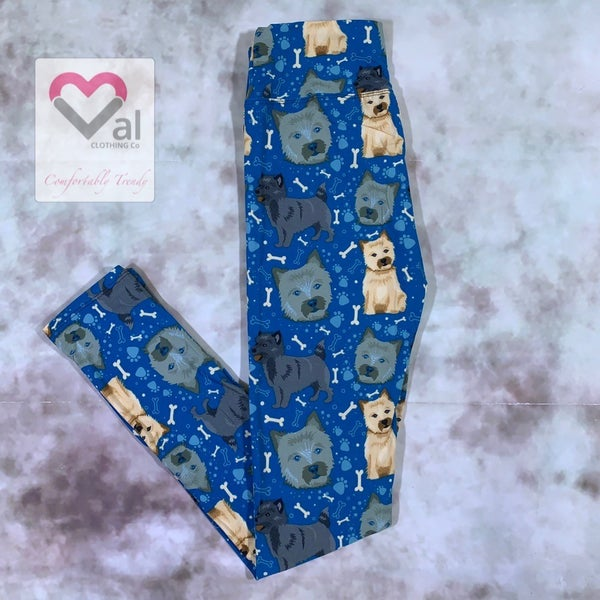 Terrier and Bone Printed Leggings