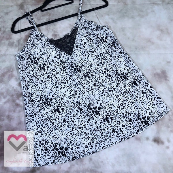Spaghetti Strap Animal Print Top with Lace Detail