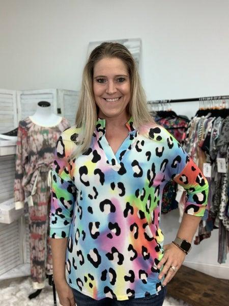 3/4 Sleeve Mock V Neck Rainbow Leopard Print Top