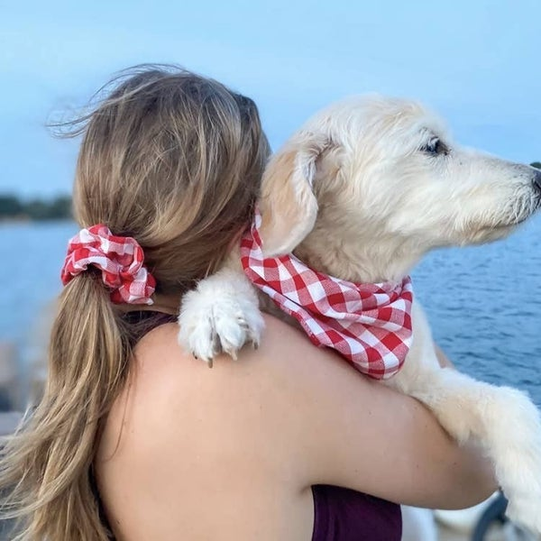 Dog Bandana and Owner Scrunchie Matching Set