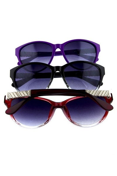 Classic Retro Sunglasses with Side Metal Detail