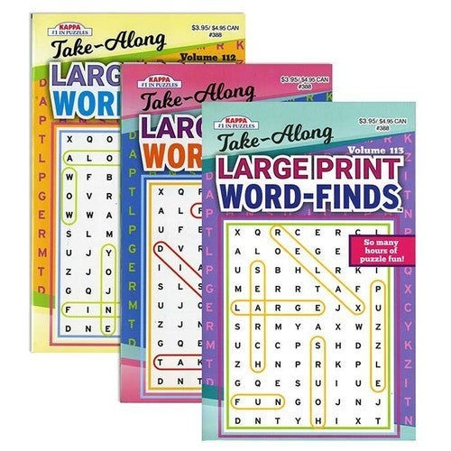 Take Along Large Print Word Finds Activity Book