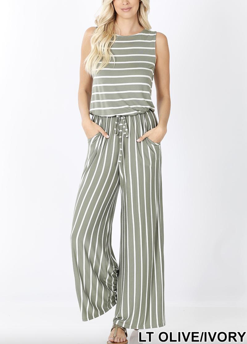 Sleeveless Striped Full Length Jumpsuit