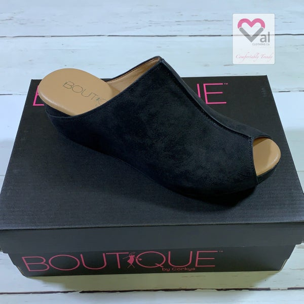 Corkys Slip On Peep Toe Shoes with Metallic Detail