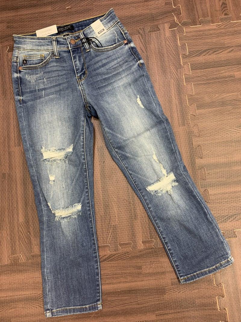 Judy Blue Mid Rise Distressed Capri Jeans