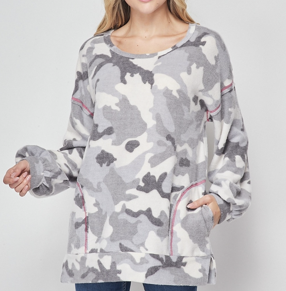 Long Bubble Sleeve Camo Top with Neon Stitch Detail