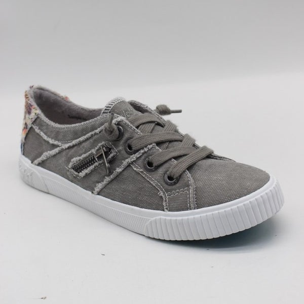 Blowfish Low Top Wolf Grey Lace Sneakers with Canvas Back