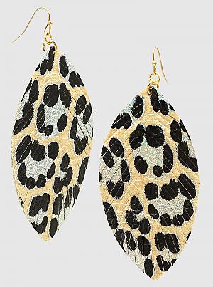 Leopard Animal Print Leatherette Dangle Drop Earrings