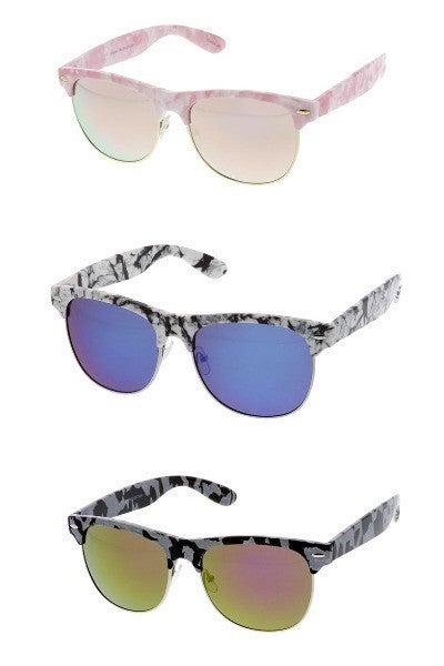 Printed Brow Line Mirrored Lens Sunglasses