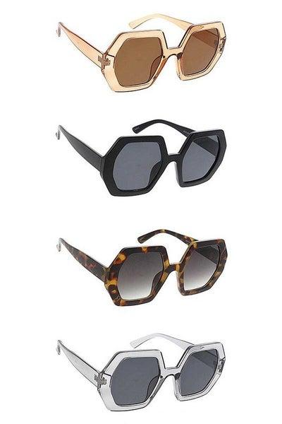 Chunky Retro Hexagon Fashion Sunglasses