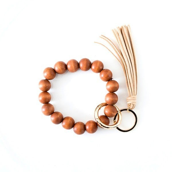 Wood & Tassel Keychain Ring Bangle