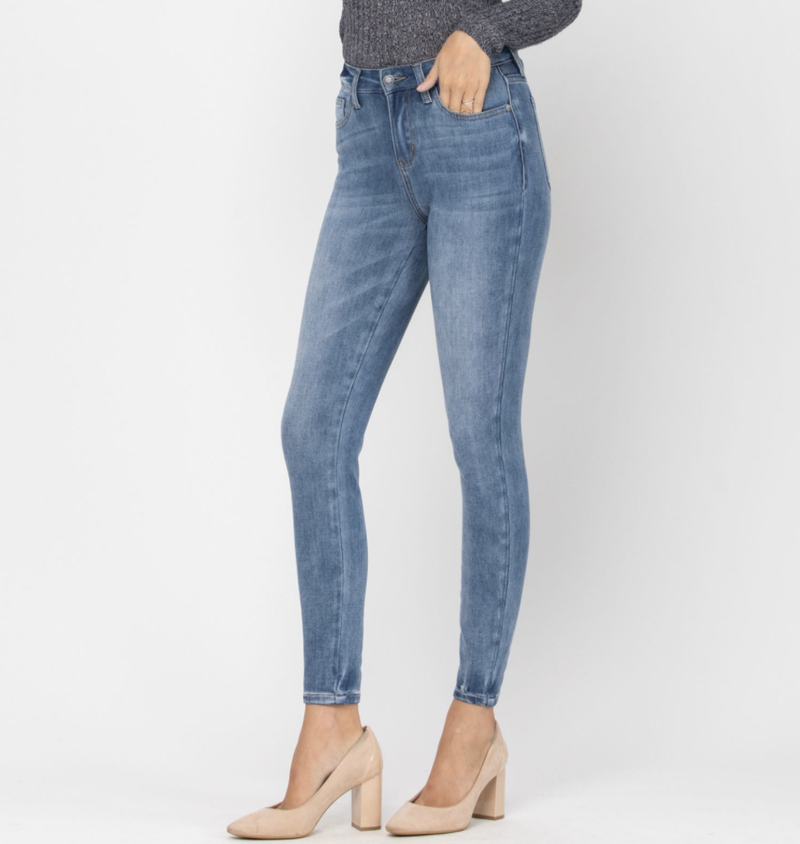 Judy Blue High Rise Mid Wash Thermal Skinny Jeans