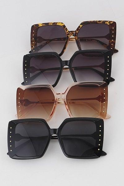 Studded Square Cat Eye Fashion Sunglasses