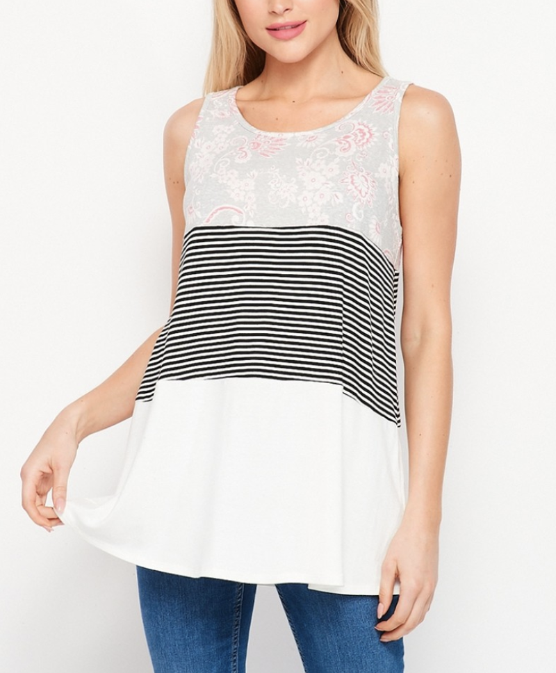 Sleeveless Solid, Stripe, & Floral Colorblock Top