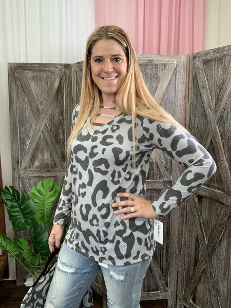 Long Sleeve V Neck Leopard Top with Ladder Detail