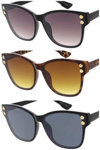 Fashion Sunglasses with Gold Rivet Detail