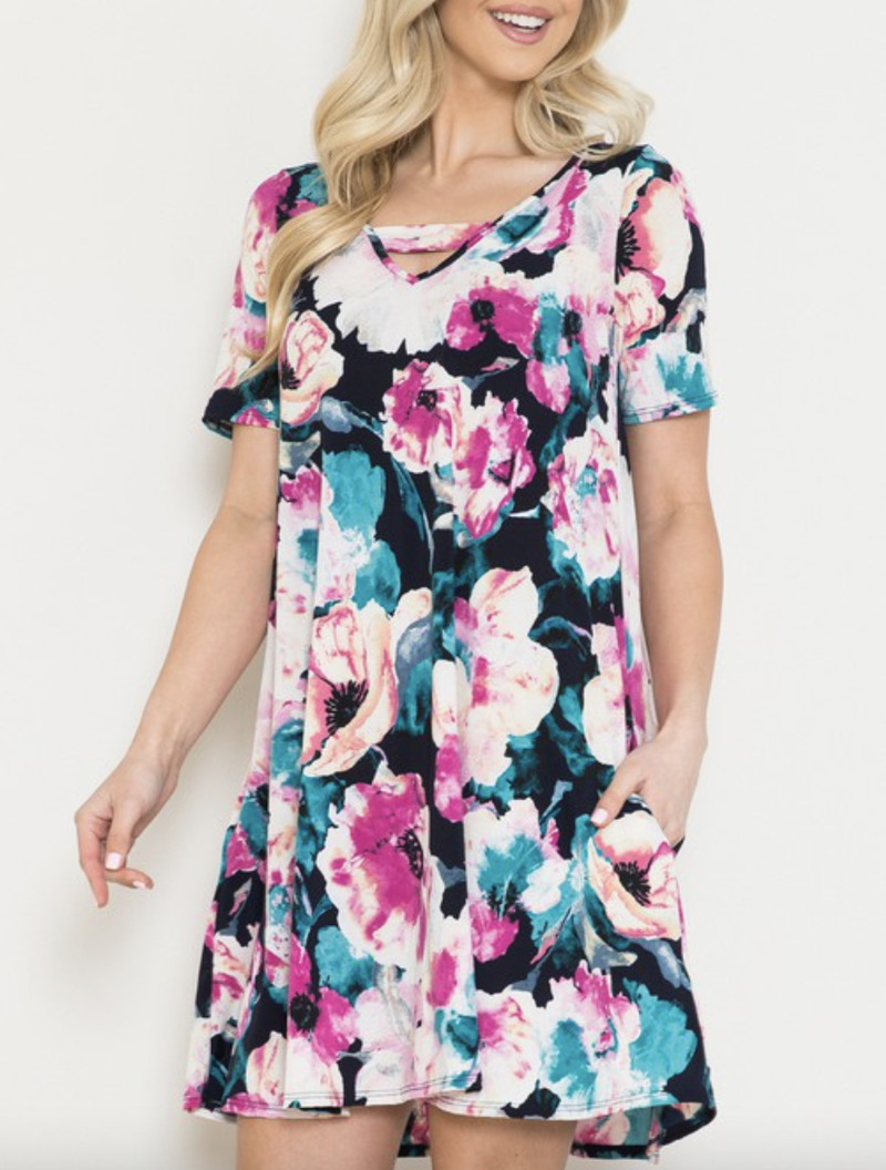 Short Sleeve Watercolor Floral Swing Dress