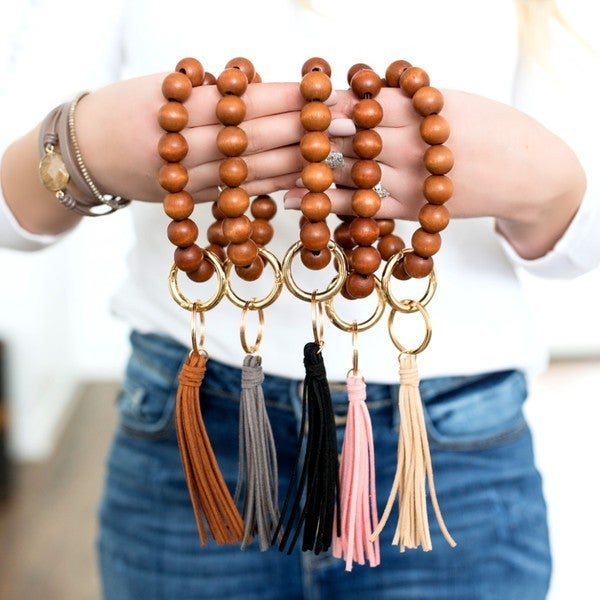Wood & Tassel Keychain Ring Bangle