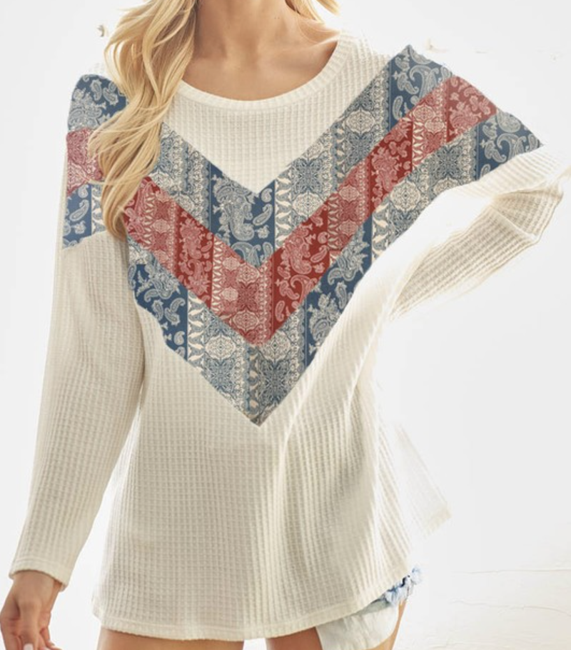 Long Sleeve Solid Waffle Top with Aztec Colorblock Detail