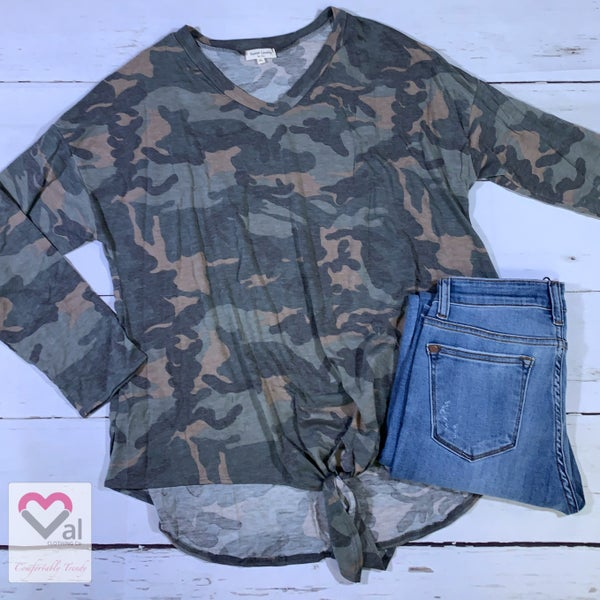 Long Sleeve Camo Tunic with Front Tie Detail