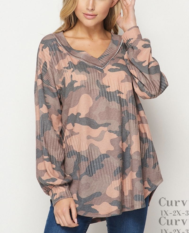Long Sleeve V Neck Fall Camo Top with Stitch Detail