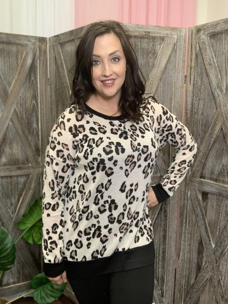 Long Sleeve Leopard Print Knit Top