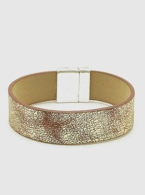 Glitter Leatherette Wrap Around Magnetic Clasp Bracelet