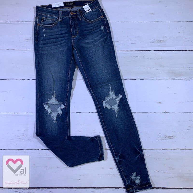 Judy Blue Dark Wash Destroyed Skinny Jeans with Hem Tacking Detail