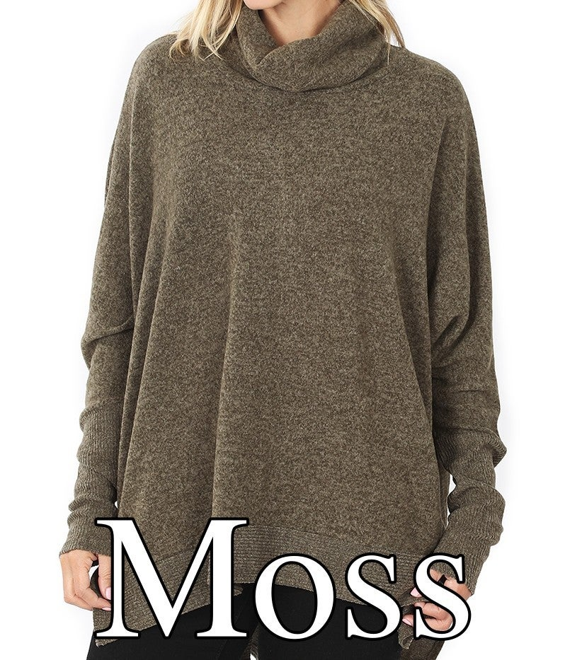 Long Sleeve Cowl Neck Solid High Low Sweater Top