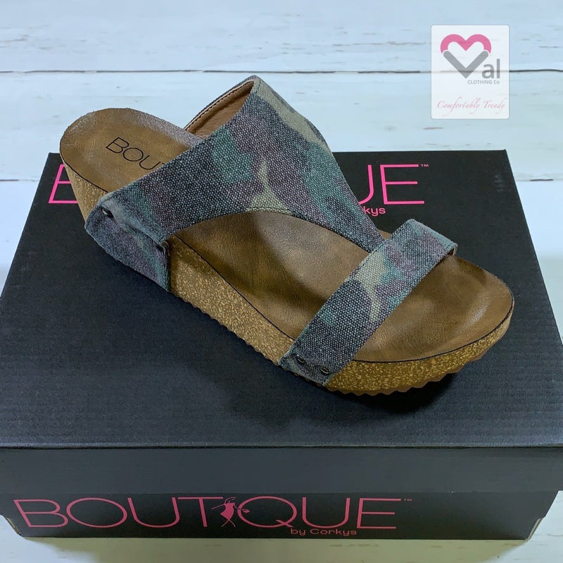 Corkys Wedge Sandals with Camo Strap Detail