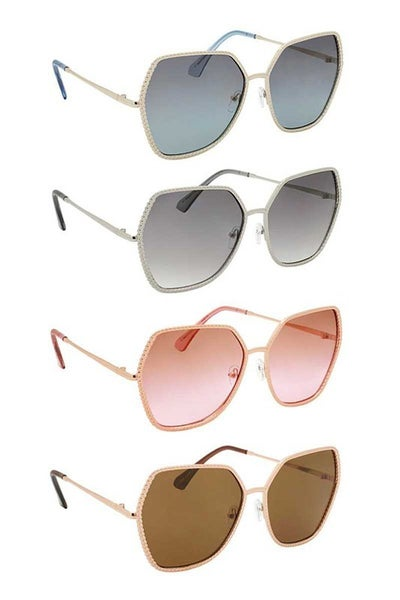 Round Fashion Sunglasses with Beveled Detail