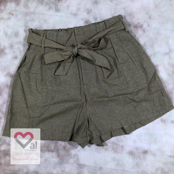 Dark Khaki Linen Shorts with Front Tie