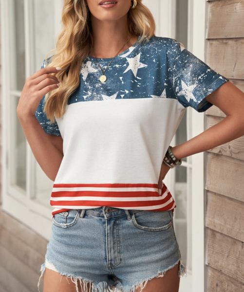Short Sleeve Stars & Stripe Colorblock Top