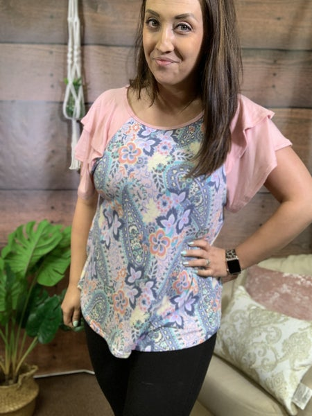 Short Ruffle Sleeve Floral Paisley Top