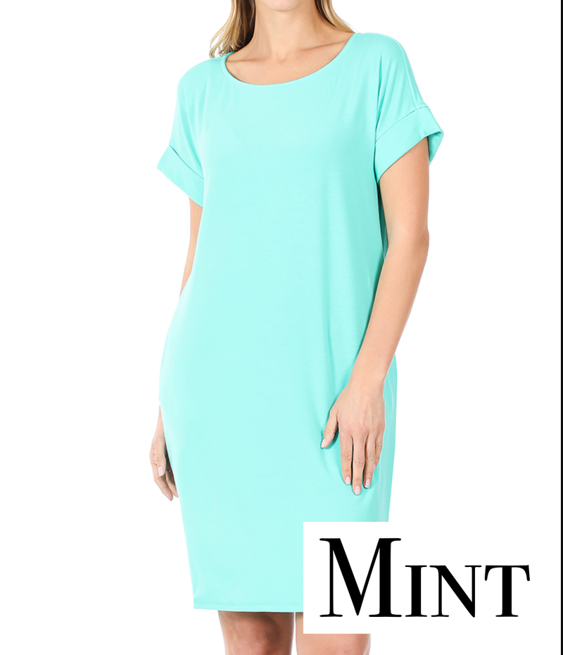Short Rolled Sleeve Round Neck Solid Dress