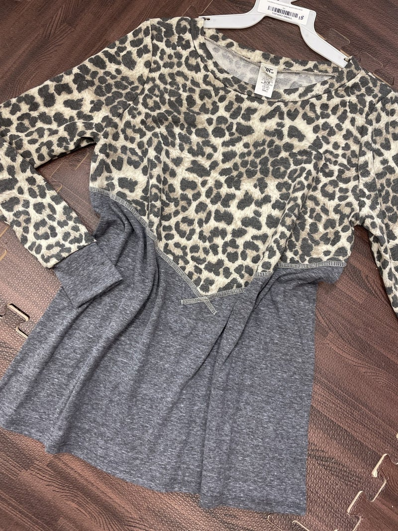 Long Sleeve Leopard and Solid Top with Stitch Detail