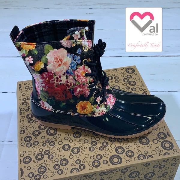 Floral Faux Leather Tie Duck Boots