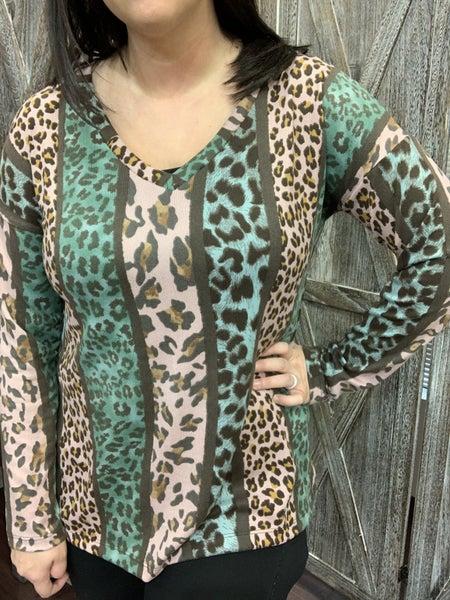 Long Sleeve Multi Leopard Stripe Print Top