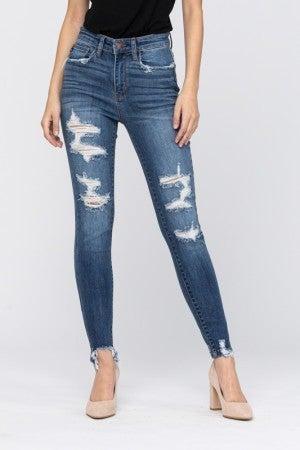 Judy Blue High Rise Medium Wash Distressed Jeans