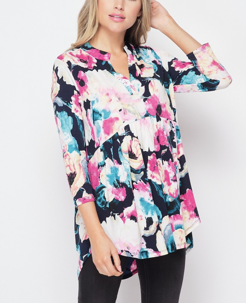 3/4 Sleeve Mock V Neck Abstract Floral Babydoll Top