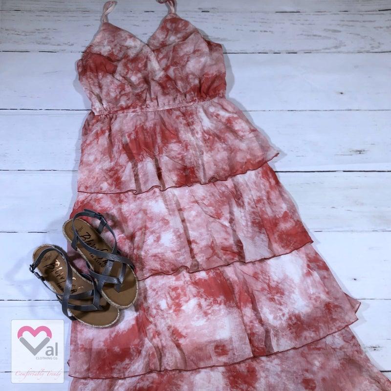 Spaghetti Strap Tie Dye Ruffle Maxi Dress