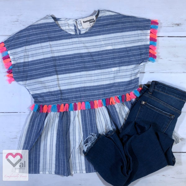 Short Sleeve Striped Babydoll Top with Fringe Detail