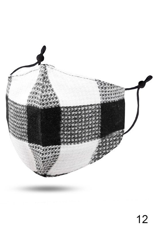 Plaid Face Covering with Filter Pocket