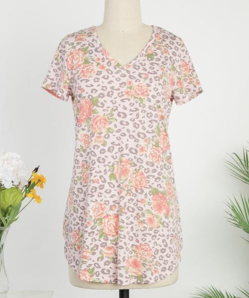Short Sleeve V Neck Floral Leopard Top
